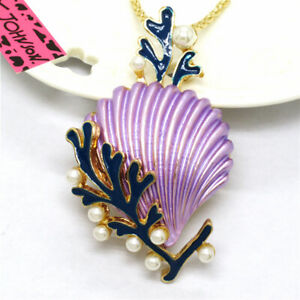 New Betsey Johnso Purple Enamel Cute Shell Coral Pearl Pendant Women Necklace