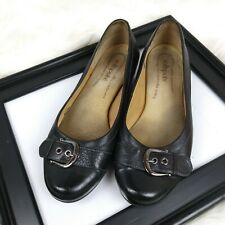 Softspots Comfort Leather Flats Buckle Round Toe Double WW wide Shoes Womens 9.5