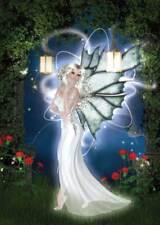 Earth Fairy Birthday Card women & girls elegant blue/green in lamplight
