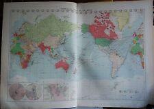 1915 Grande Antico Mappa MERCANTILE-Grafico commerciale del mondo