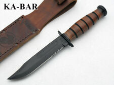 KA1252 Couteau Kabar USMC Short 1095 Carbon Blade Leather Handle Sheath Made USA