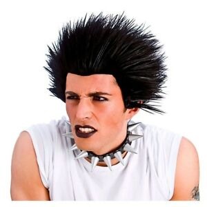Unisex PUNK WIG Rock Black Hair Sid Vicious 80s Fancy Dress Accessory Stag 1980