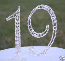 Large Rhinestone Silver Crystal Nineteen 19 Birthday Number Cake Topper Top