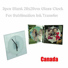 3pcs Blank Sublimation Round Glass Clock Print Heating Press Transfer Crafts