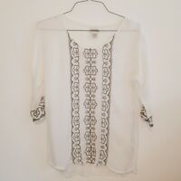 Lucky Brand Women's cream sheer Mesh Floral Embroidered Top with 3/4 sleeves
