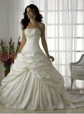 A Line Strapless Ball Gown White Wedding Dress. SIZE 8 AND 12 IN STOCK. HANDMADE