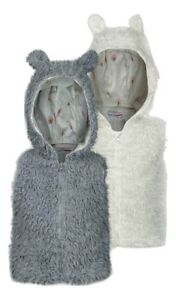 Minoti Girls Soft Faux Fur Gilet - Ivory & Silver - Ages 6-24 Months - 2/3 Yrs