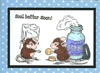 Mouse & Aspirin 'feel better soon' Handmade Notecards  (3 Cards)   #35