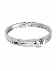 "Silver-tone Handcuff Motif Stainless Steel Bangle Bracelet 8"""