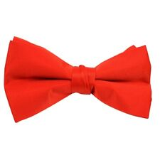 New ~ Men's CLIP ON Poly Satin Formal Red BOW TIE - Fast Shipping
