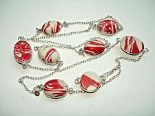 """.925 Silver Station Necklace 28-36"""" Ab One-of-a-Kind Red White Rainbow Calsilica"""