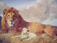 """Lion and the Lamb Religious Christian PRINT  8"""" x10"""" ready to be framed"""