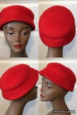 Vintage Ladies Neumann Endler Hat Red 100% Wool 20� Good Vintage Condition! (8)