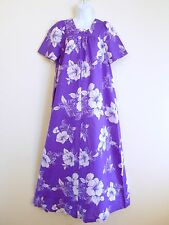 Vtg 70s 80s Hawaiian Dress Muu Muu by Ja-Na Jana Purple & White Hibiscus Size 10