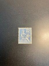 Timbre France, N°118 type 2, Mouchon 25c bleu, Neuf, cote: 150€