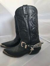 Vintage Sancho Cowboy Boots Made in Spain EUR 42 US 9 Leather Men Black Spurs