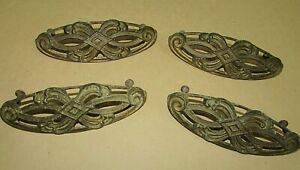 """Set Four Ornate Antique Open Space Solid Brass Old 5-1/2"""" Drawer Pulls FREE S/H"""