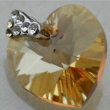 Silver Plate SWAROVSKI ELEMENTS 6228 Heart Pendant Champagne