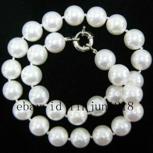 """8mm 10mm 12mm Rainbow White Shell Pearl Round Beads Necklace 18"""" AAA"""