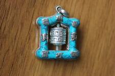 PN839 Nepal Tibetan Silver Turquoise Prayer Wheel Six Word Mantra Amulet Pendant