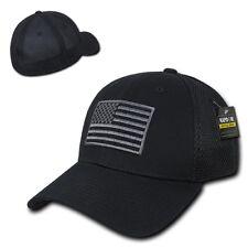 Black Usa Us American Flag Tactical Operator Mesh Flex Baseball Fit Hat Cap