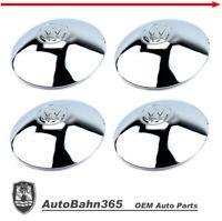 New VW Logo Chrome Hub Cap Late Beetle Bus Ghia Type-3 Vanagon Half-Moon 4-set