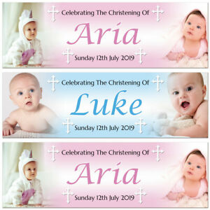 2 Personalised Christening Banner Baptism Naming Day Photo Baby Party Poster