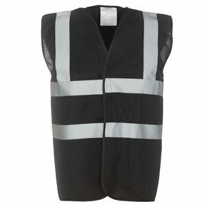 Yoko Hi Vis Black Vests Adult Hi Visibility Viz Reflective Waistcoat S to 5XL