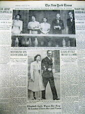 1947 NY Times newspaper Great Britain PRINCESS ELIZABETH is ENGAGED toBE MARRIED