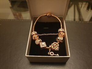 rose gold plated bracelet popular brand style 925 sterling silver with charms
