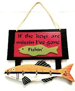 Wooden Key Holder Hooks Fish Style Wall Hanging Home Decorative