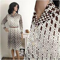 Vintage 70s Brown White Geometric Print Shirt Dress 10 12 38