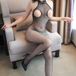 Women Body Stockings Fishnet Solid open bust Backless Tights Underwear FL0041