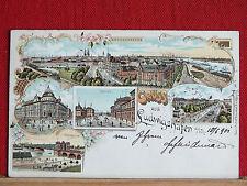 Farblitho - Gruss aus Ludwigshafen a. Rhein - gel 1901 - ua. Post, Bahnhof    m1