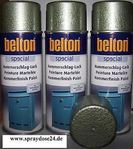 3 Dosen Belton Hammerschlag Lack Grün Sprühdose  400ml -