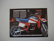 advertising Pubblicità 1984 MOTO HONDA XL 125 R PD PARIS DAKAR