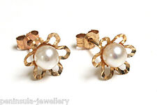 9ct Gold Pearl Flower Studs earrings Made in UK Gift Boxed