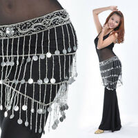 New Belly Dance Costume Crocheted Hip Scarf Belt Sequins & 188pcs Silver Coins