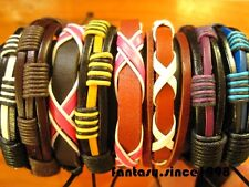 wholesale 24pcs mixed styles leather bracelets cuff adjustable job lot