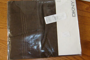 NIP DKNY Ruffle Hem Brown Queen Flat Sheet