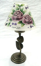 Vintage Glynda Turley Hand Painted Glass Shade Tea Light 1999 - Purple Roses