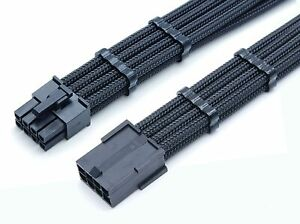 8 Pin ATX CPU PSU Extension Cable Black Sleeved Shakmods + 2 Cable Combs