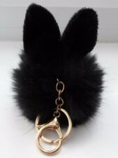 Big Bunny Rabbit Oreilles Pompon en fourrure Keychain Clip Sac Pendentif Noir