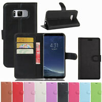 Card Holder Slim Leather Flip Wallet Case Cover Stand For Samsung Galaxy Phones