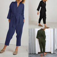 UK Womens Long Sleeve Cotton V Neck Long Jumpsuits Ladies Casual Loose Playsuits