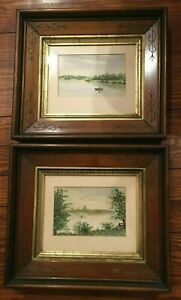 Pair of Wonderful Late Victorian Framed Watercolors, Wisconsin Lakes