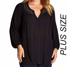 New Ladies Autograph Plus Size Black 3/4 Sleeved Tunic Top Blouse Size 14-26 .