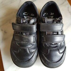 Boys Clarks School Black Shoes Size INFANT 10.5 H