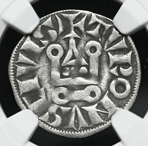 FRANCE. Philip III/IV, 1270-1314. Silver Denier Tournois, Round 'O', NGC VF30