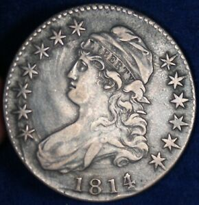 1814/3 50c Capped Bust Silver Half Dollar Coin - Overdate Variety